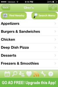 Restaurant Nutrition Menu Selection Screen