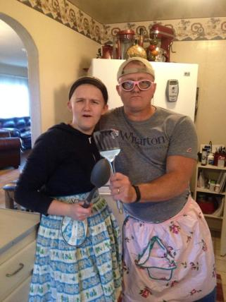 Dad and Jordan Wear Onion Goggles and Aprons