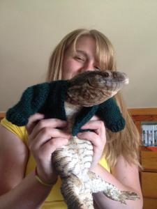 My Sister with Zeus The Lizard In a Sweater